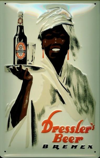 Blechschild Dressler Beer Bier Bremen Schild Werbeschild retro Nostalgieschild