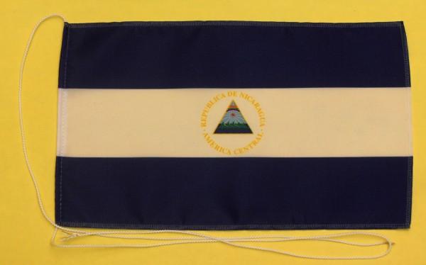 Tischflagge Nicaragua 25x15 cm optional mit Holz- oder Chromständer Tischfahne Tischfähnchen