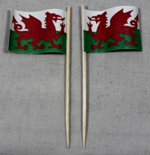 Party-Picker Flagge Wales Papierfähnchen in Spitzenqualität 50 Stück Beutel