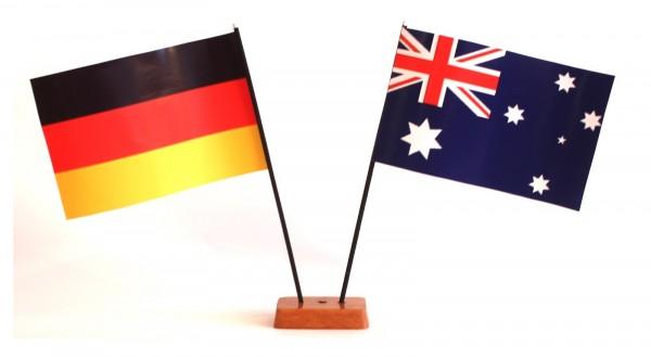 Mini Tischflagge Australien 9x14 cm Höhe 20 cm mit Gratis-Bonusflagge und Holzsockel Tischfähnchen