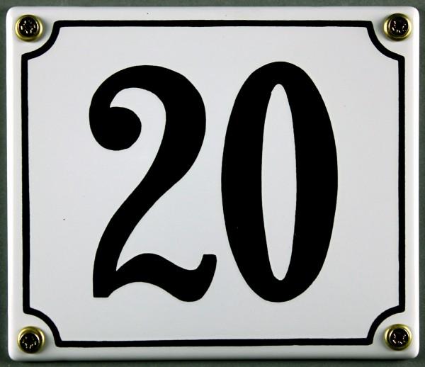 Hausnummernschild 20 weiß 12x14 cm sofort lieferbar Schild Emaille Hausnummer Haus Nummer Zahl Ziffe