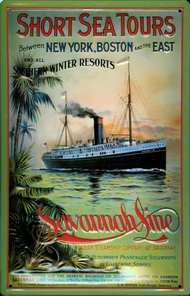 Blechschild Short Sea Tours Savannah Line Kreuzfahrt Dampfer Reedereiplakat Schiff Schild Nostalgies