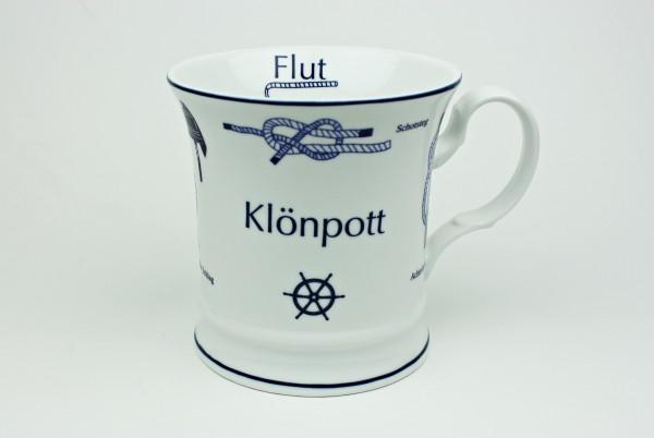 Klönpott mit Seemannsknoten hoch Knotenbecher Souvenir Teetasse Tee Becher Andenken Teebecher