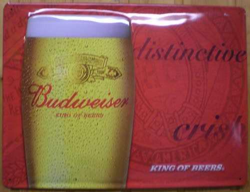 Blechschild Budweiser King of Beers Bier nostalgisches Schild Werbeschild