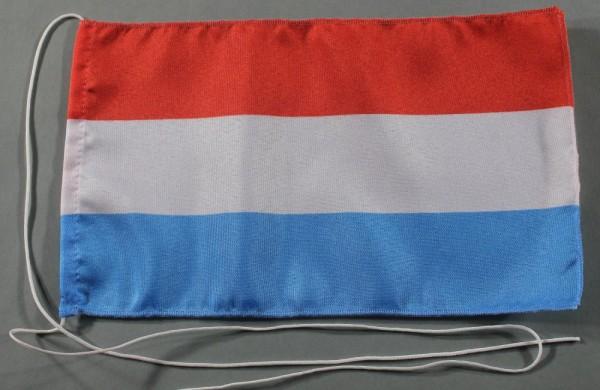Tischflagge Luxemburg 25x15 cm optional mit Holz- oder Chromständer Tischfahne Tischfähnchen