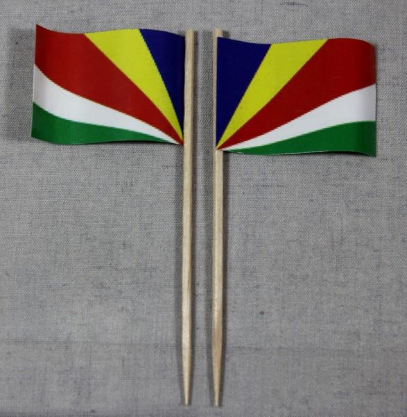 Party-Picker Flagge Seychellen Papierfähnchen in Spitzenqualität 50 Stück Beutel