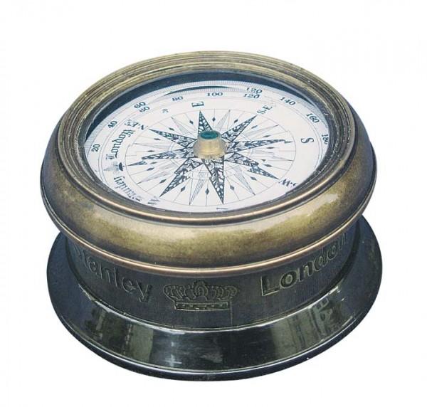 Kompass Messing Antik mit Glasdeckel