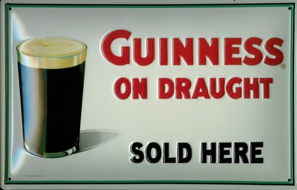 Blechschild Guinness Beer on draught sold here Bier Werbung nostalgisches Schild