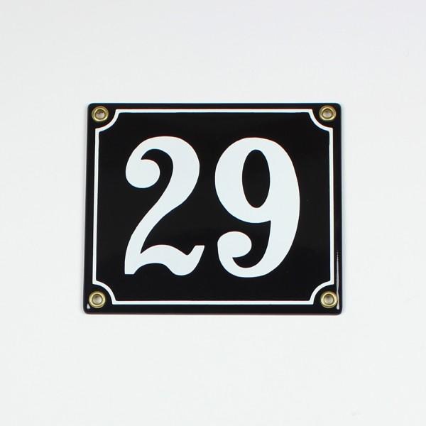 29 schwarz Clarendon 14x12 cm sofort lieferbar 2-stellig Schild Emaille Hausnummer