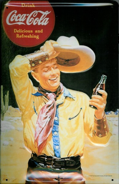 Blechschild Coca Cola delishious refreshing Cowboy Coke nostalgisches Schild Werbeschild
