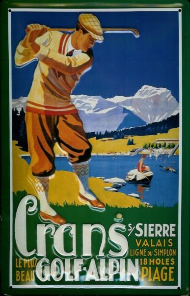 Blechschild Nostalgieschild Cran`s Golf Alpen Alpin Golfplatz