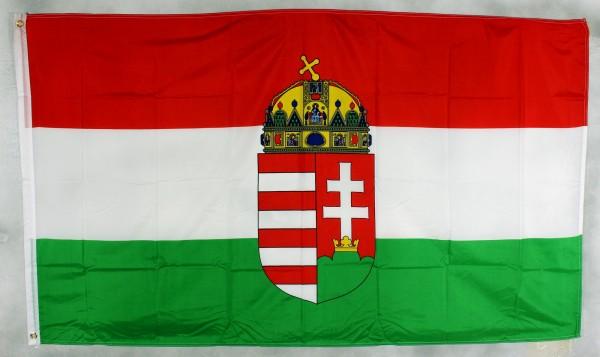 Flagge Fahne : Ungarn mit Wappen Emblem Ungarnfahne