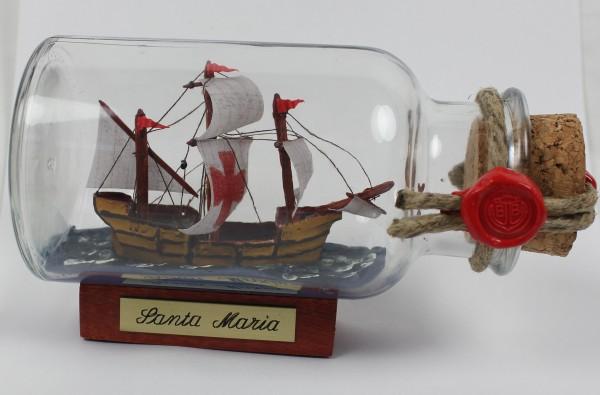 Santa Maria mit Kreuz rundes Gewürzglas 0,25 Liter Buddelschiff Flaschenschiff