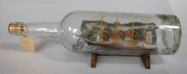 Altes Buddelschiff 4-Mast Bark mit Hintergrund um 1930,