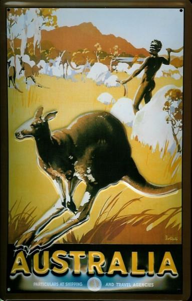 Blechschild Nostalgieschild Australien Känguruh Australien