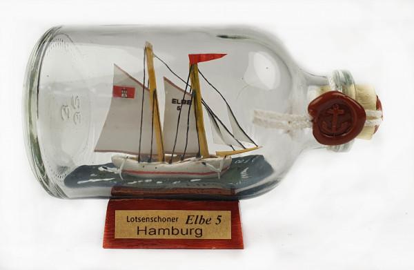 Elbe 5 Lotsenschoner Mini Buddelschiff 50 ml ca. 7,2 x 4,5 cm Flaschenschiff