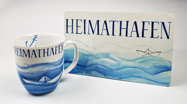 Frühstücksset Heimathafen maritimer Becher Kaffeetasse + Frühstücksbrett Brotbrett Schneidebrett
