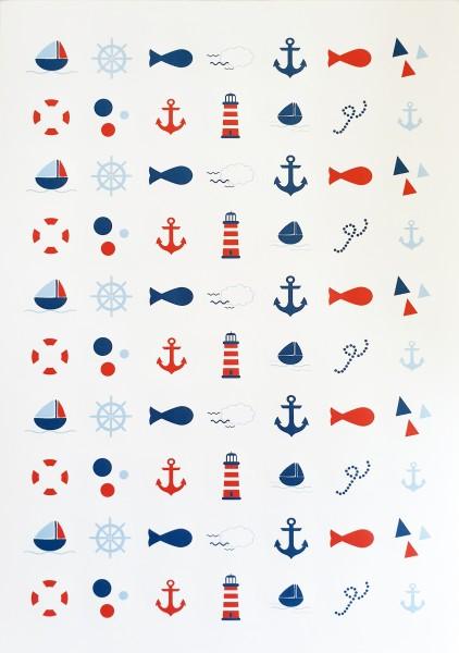 70 runde Maritime Aufkleber 25 mm - Schiff | Steuerrad | Fisch | Möwen | Anker | Rettungsring | Leuc