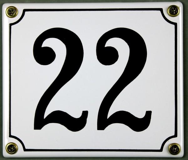 Hausnummernschild 22 weiß 12x14 cm sofort lieferbar Schild Emaille Hausnummer Haus Nummer Zahl Ziffe