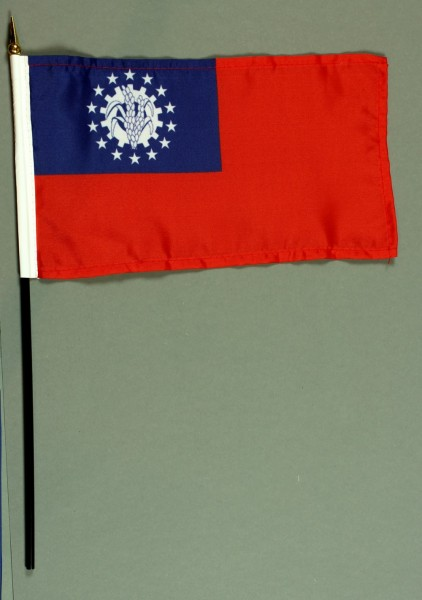 Tischflagge Myanmar Burma alt 15x25 cm BASIC optional mit Tischflaggenständer