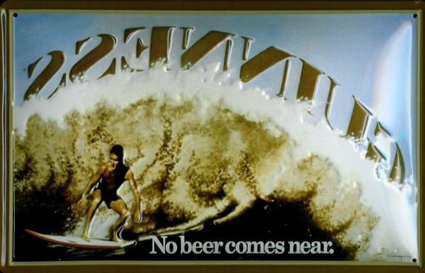 Blechschild Guinness Bier Surfer Welle Beer Schild Nostalgieschild