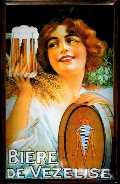 Blechschild Biere de Vezelise Biergarten Kellnerin Schild Bier Werbeschild Nostalgieschild
