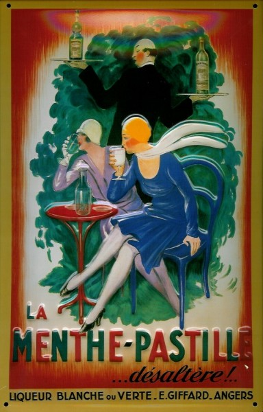 Blechschild Menthe Pastille Liquer Aperitif Schild Nostalgie Werbeschild