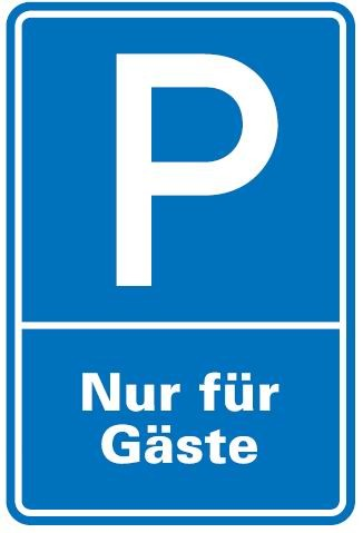 Aluminium Schild Parkplatz P Gäste 600x400 mm Alu 0,6 mm geprägt für Wandmontage