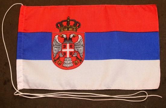 Tischflagge Serbien 25x15 cm optional mit Holz- oder Chromständer Tischfahne Tischfähnchen