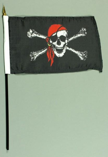 Tischflagge Pirat Piratenflagge 15x25 cm BASIC optional mit Tischflaggenständer