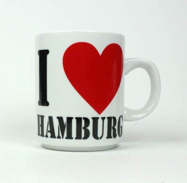 I love Hamburg Kaffeebecher Herz weiss Souvenir Kaffeetasse Kaffee Becher Andenken