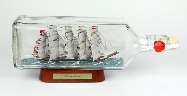 Preussen eckige Ginflasche 0,7 Liter Buddelschiff Flaschenschiff