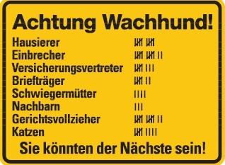 Achtung Wachhund Blechschild Humor Schild Fun Funschild Metallschild