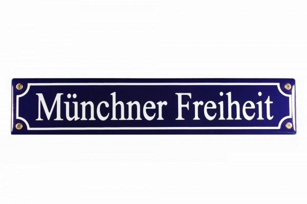 Strassenschild Münchner Freiheit 40x8 cm München Souvenir Email Strassen Schild Emaille