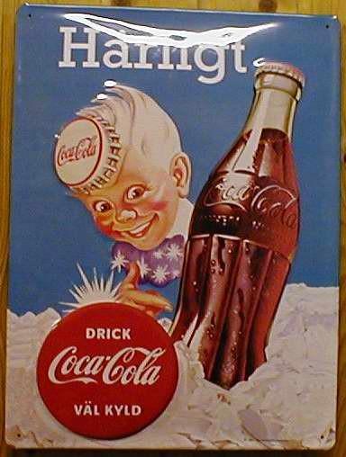 Blechschild Coca Cola Coke Härligt retro Werbung Schild Nostalgieschild