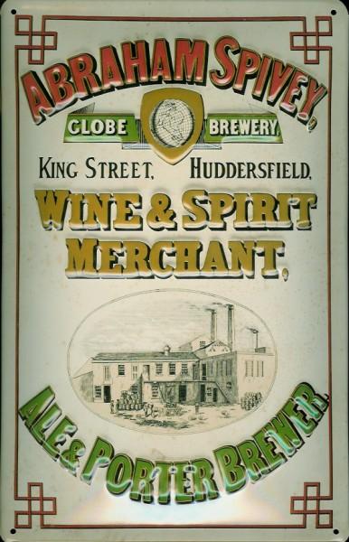 Blechschild Abraham Spivey Wine & Spirit Merchant Schild Nostalgie Werbeschild